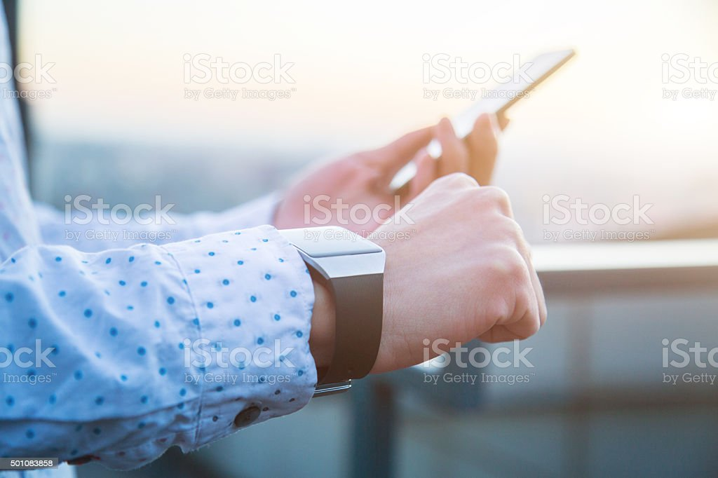 Smart Watch with Smart Phone stock photo