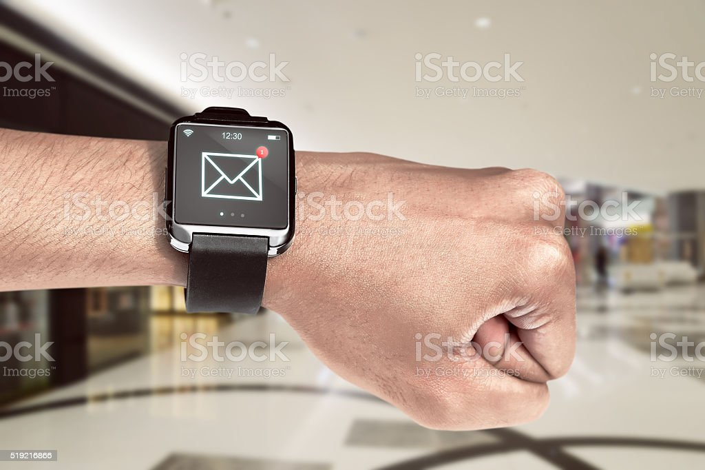 Smart watch with unread message icon stock photo