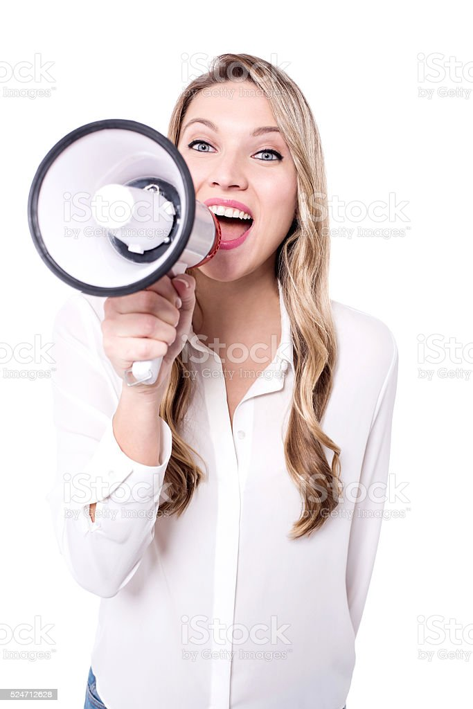 Smart woman  making an  announcement stock photo