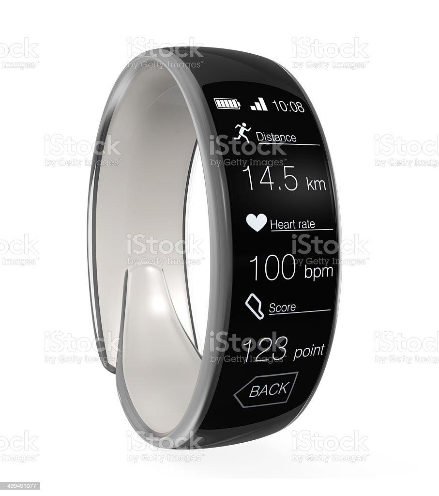 Smart wristband isolated on gray background stock photo