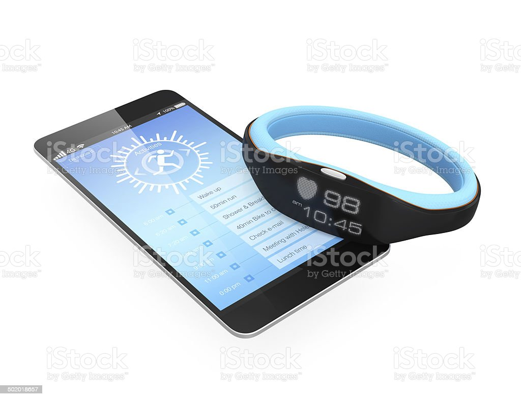 Smart wristbands and smartphone on white background stock photo