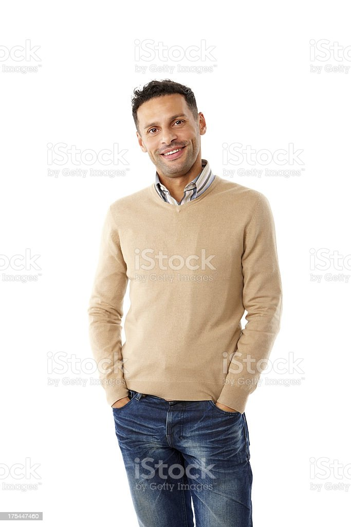 Smart young man posing on white royalty-free stock photo