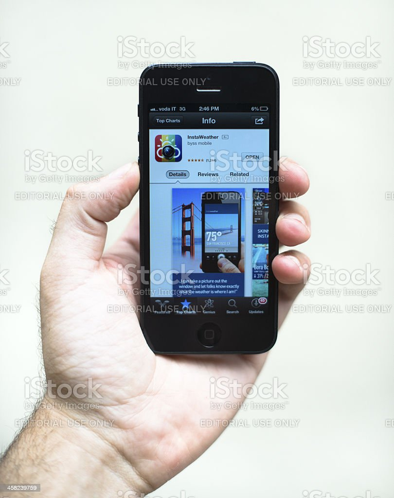 smarthphone Iphone 5 with instant weather app royalty-free stock photo