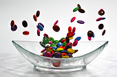Smarties falling in a glass bowl