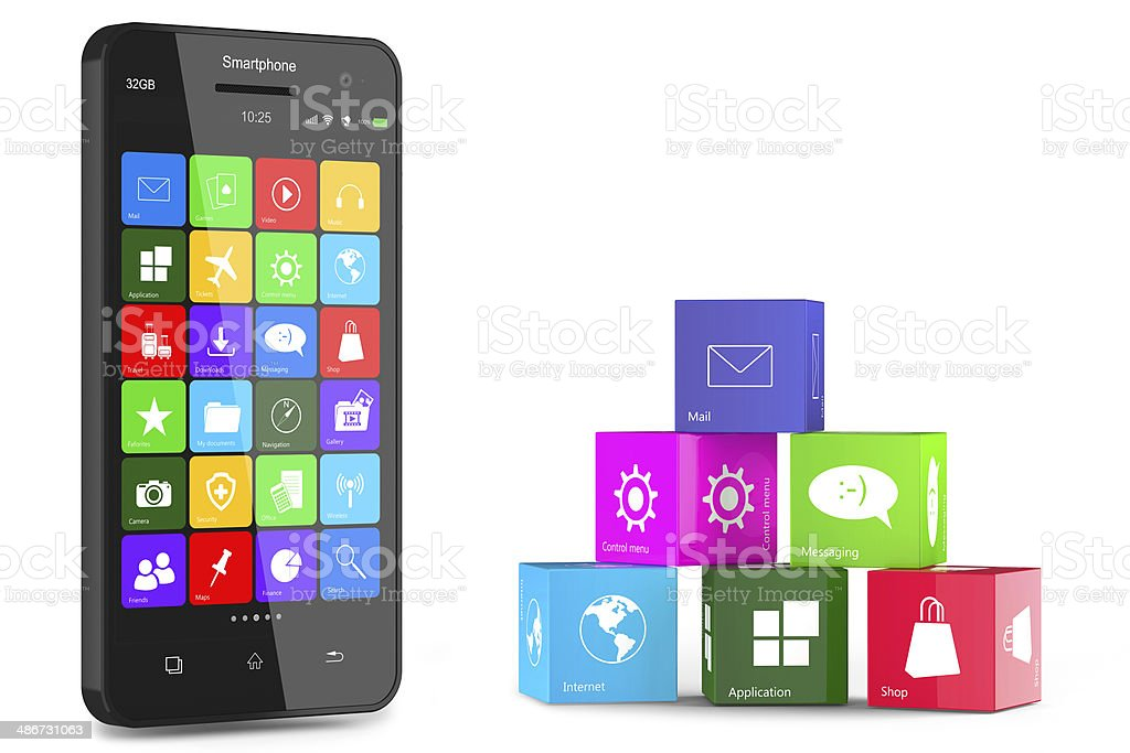 Smartphone and application cubes stock photo