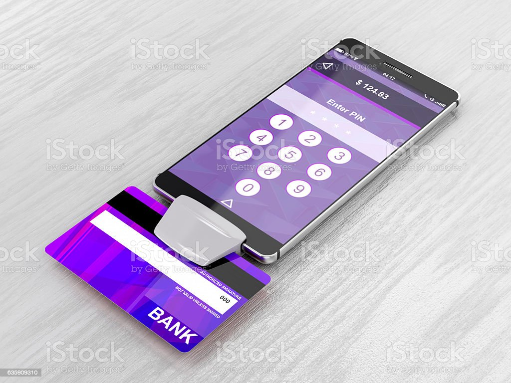 Smartphone and bank card reader stock photo