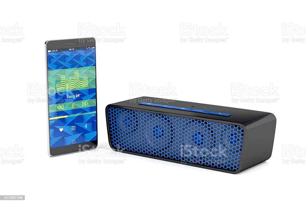 Smartphone and bluetooth speaker stock photo