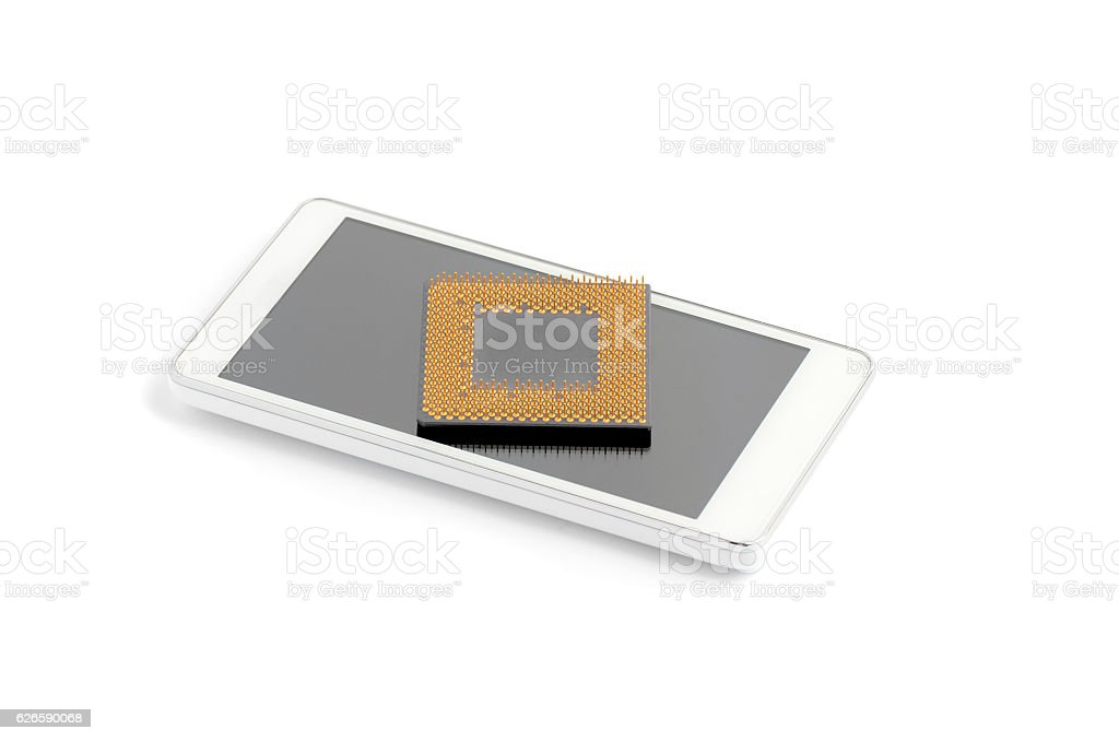 Smartphone And Computer Processor stock photo