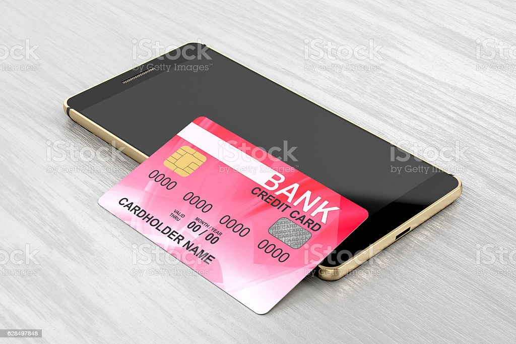 Smartphone and credit card stock photo