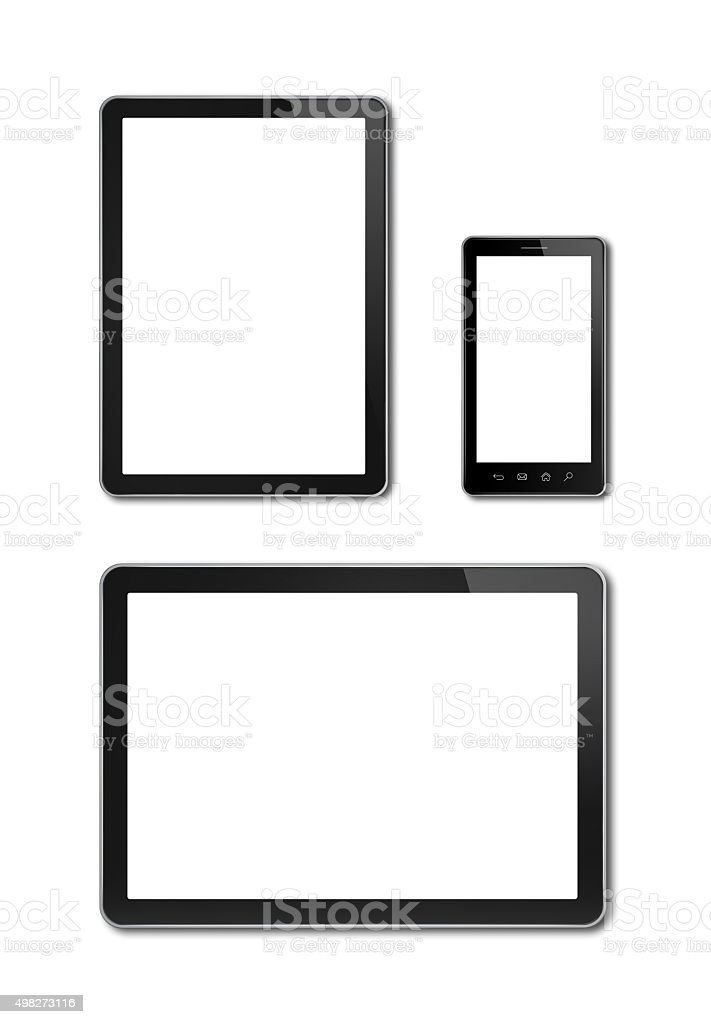 smartphone and digital tablet pc mockup template stock photo