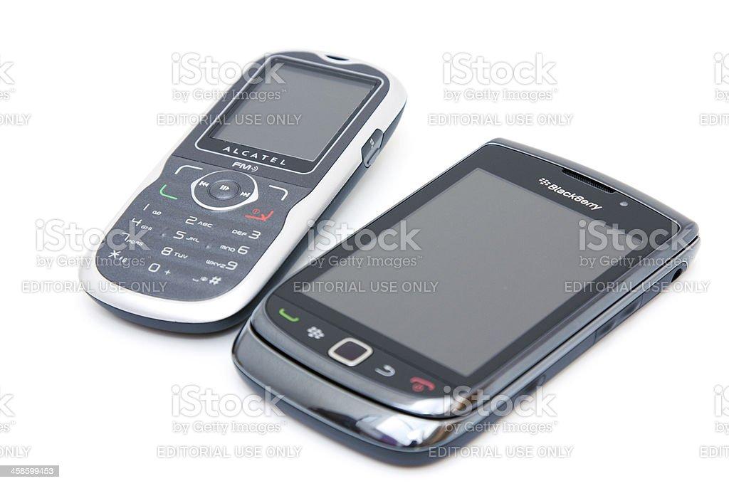 smartphone and dumbphone stock photo