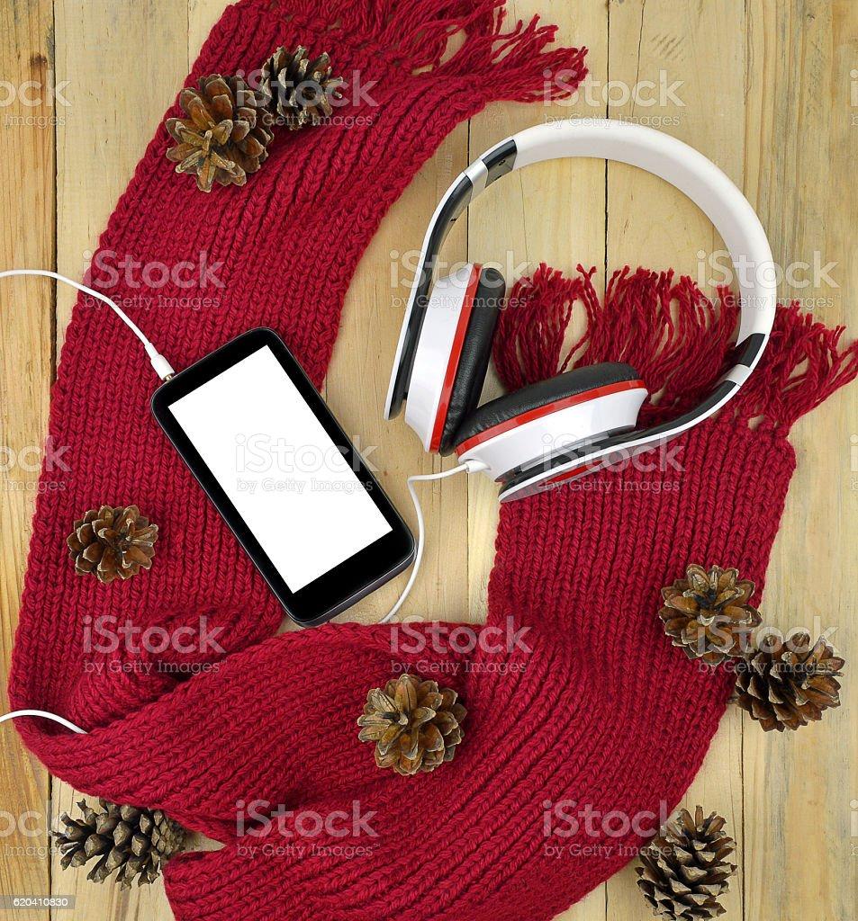Smartphone and headphones . Winter. Work, Walk. Music. Modern technologies. stock photo