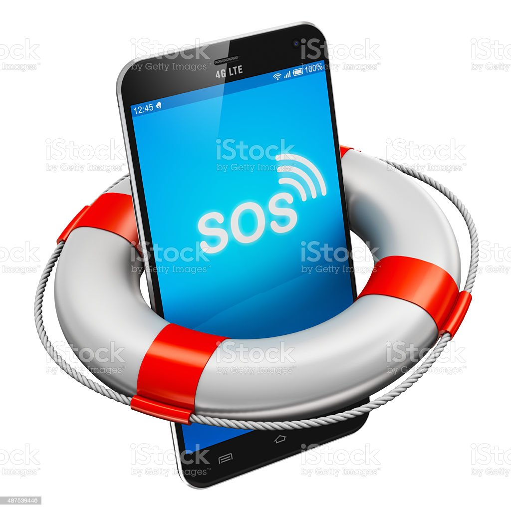 Smartphone and lifesaver buoy stock photo