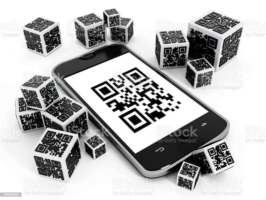 Smartphone and QR code cubes stock photo