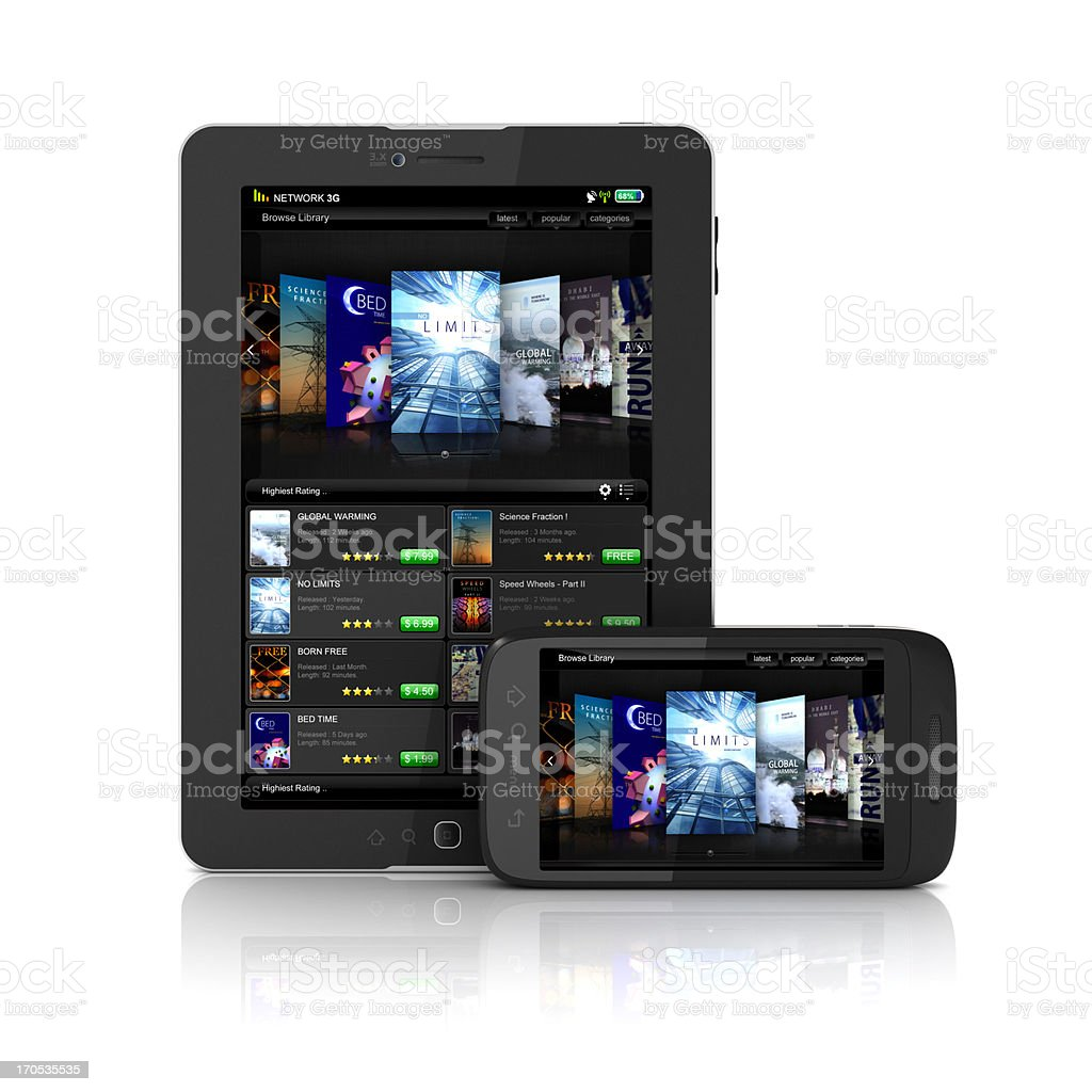 Smartphone and tablet displaying online eBook library stock photo