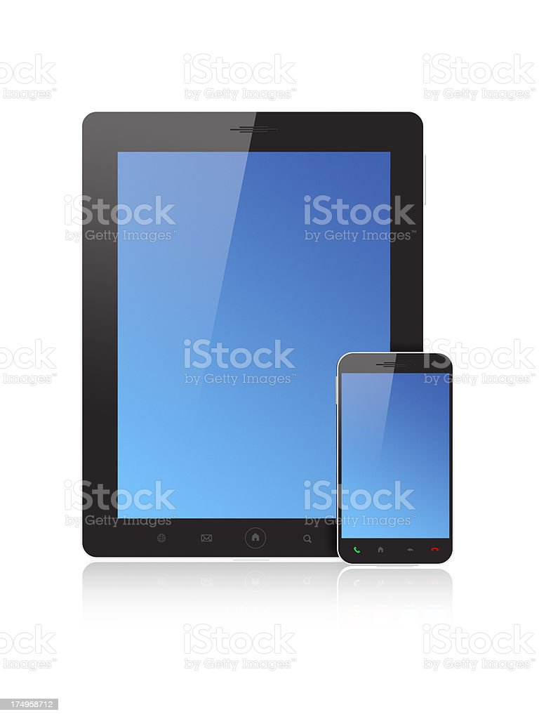 Smartphone and Tablet PC - Blue Screen royalty-free stock photo