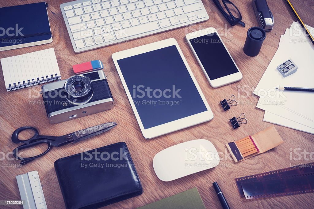 smartphone and tablet pc mockup stock photo