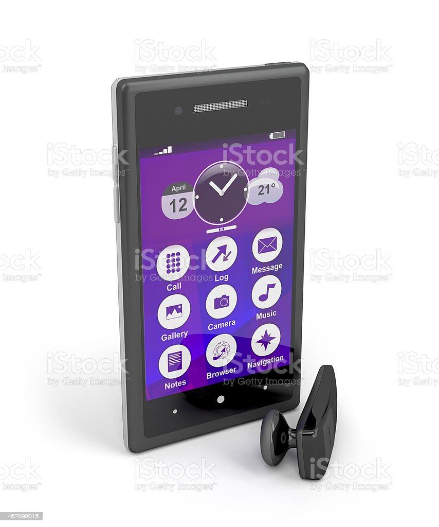 Smartphone and wireless handsfree royalty-free stock photo