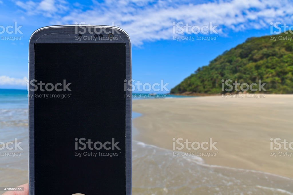 Smartphone at As ilhas in Barra do Sahy stock photo