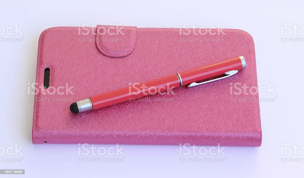 smartphone case and digital pen royalty-free stock photo
