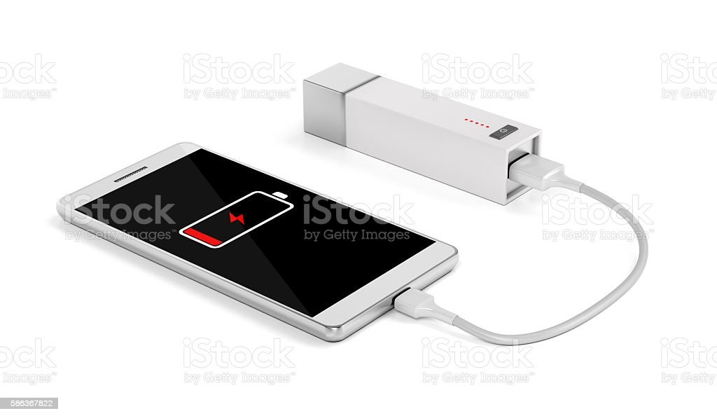 Smartphone charging with external battery stock photo