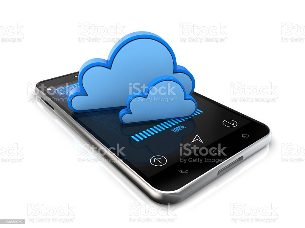 smartphone cloud system data safety stock photo