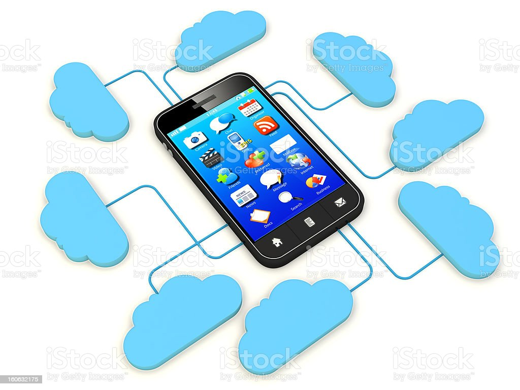 Smartphone connected to cloud server. royalty-free stock photo