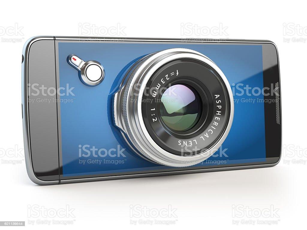 Smartphone digital camera concept. Mobile phone with camera lens stock photo