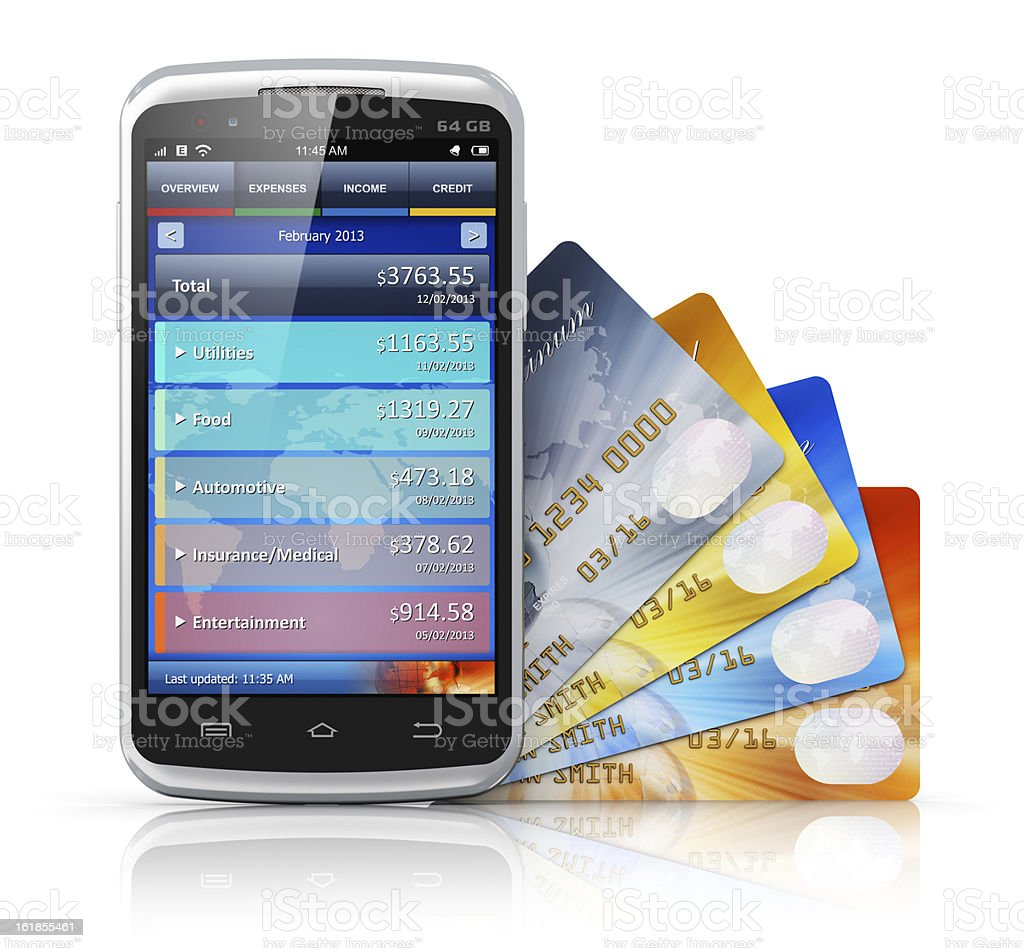 Smartphone displaying banking application next to bank cards royalty-free stock photo