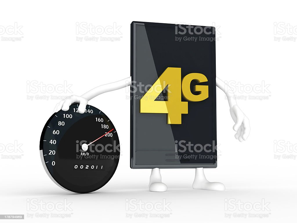 smartphone displaying the speed of 4g. royalty-free stock photo