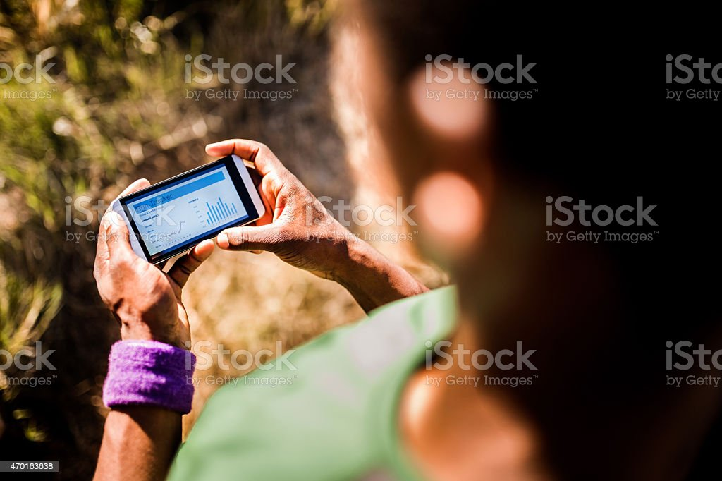 Smartphone fitness app for sports and exercise stock photo