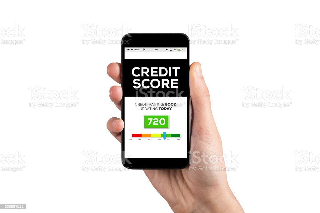 Smartphone in hand and showing Credit Score concept on screen stock photo