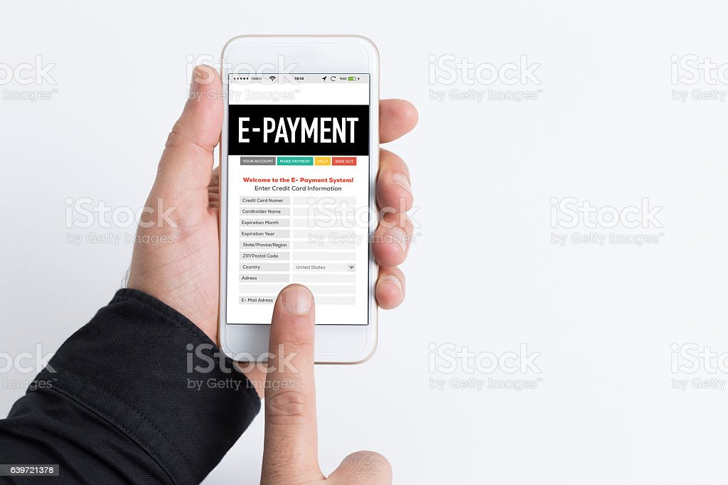 Smartphone in hand and showing E-Payment concept on screen stock photo