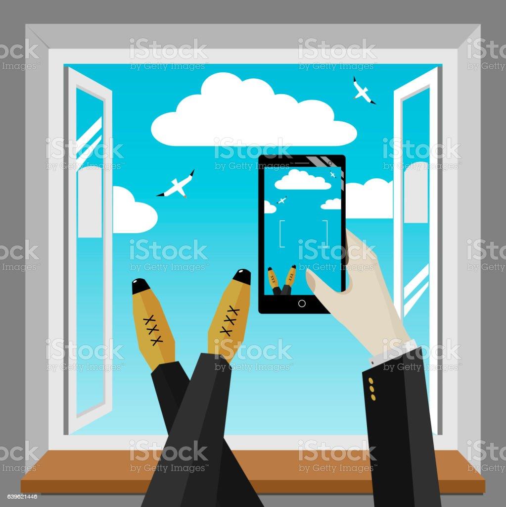 Smartphone in hand stock photo