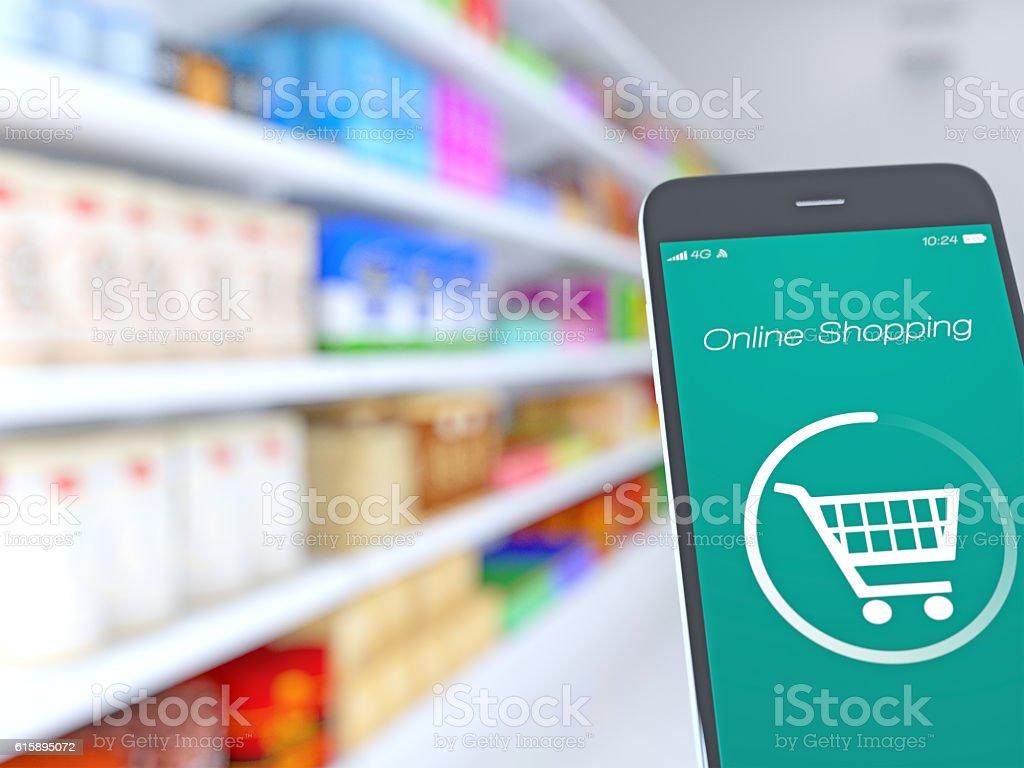 Smartphone in supermarket stock photo