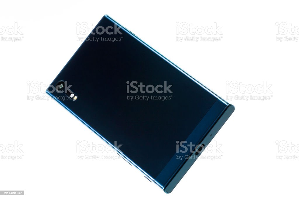 Smartphone in turquoise colour, rear cover. stock photo