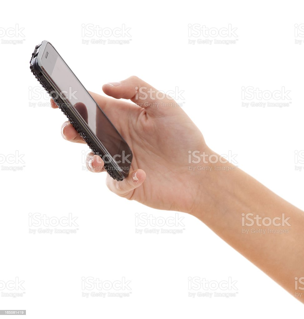 Smartphone in woman hand on white stock photo