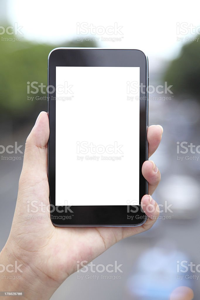 Smartphone isolation background in the real traffic-XXXL royalty-free stock photo