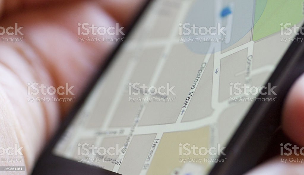 Smartphone Map stock photo