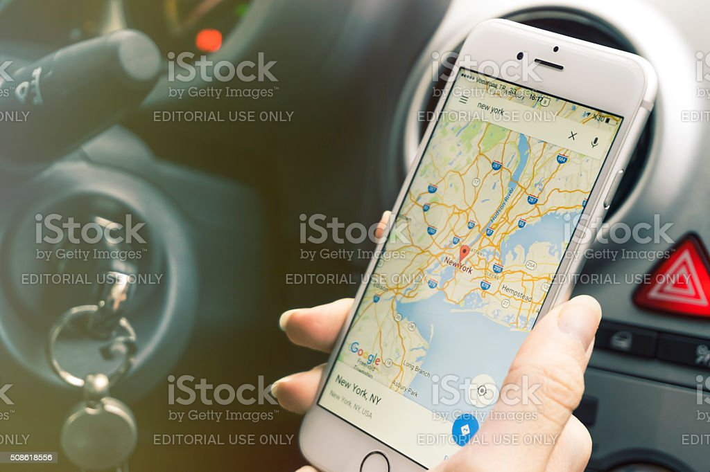 Smartphone mapping while in car stock photo