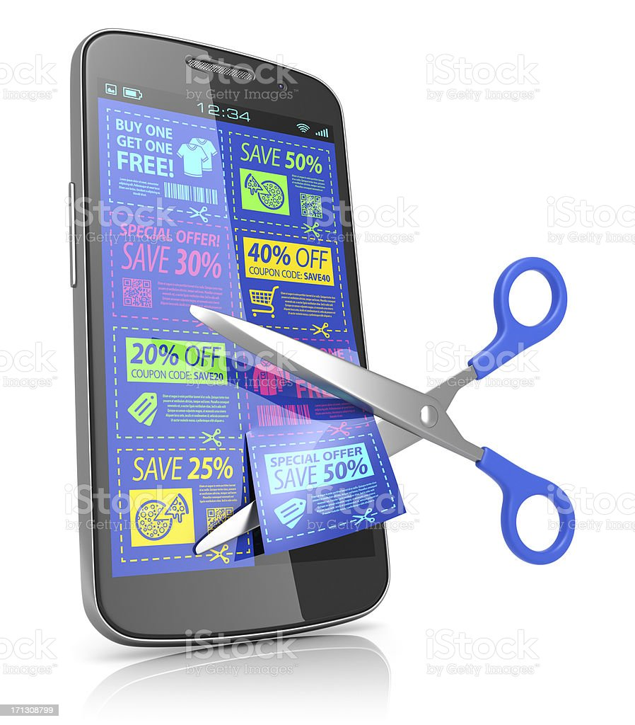 Smartphone offers coupons concept stock photo