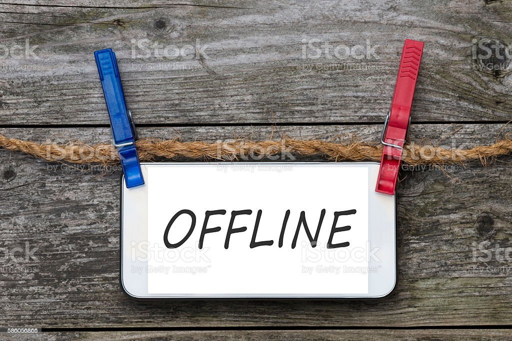 Smartphone - OFFLINE - Comment Wall stock photo