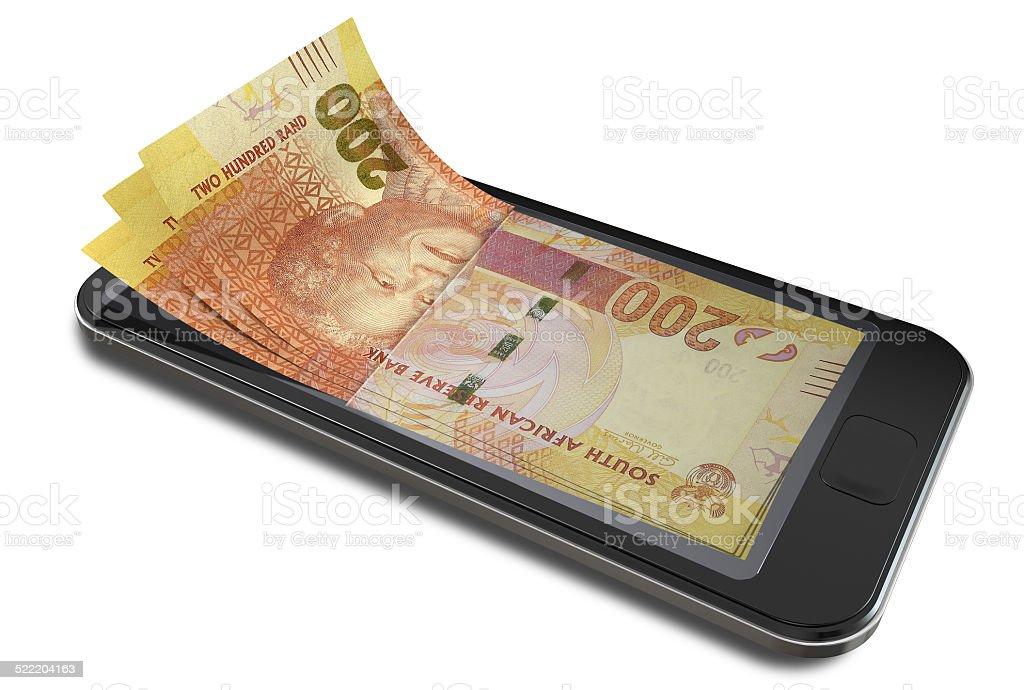 Smartphone Payments With Rands stock photo