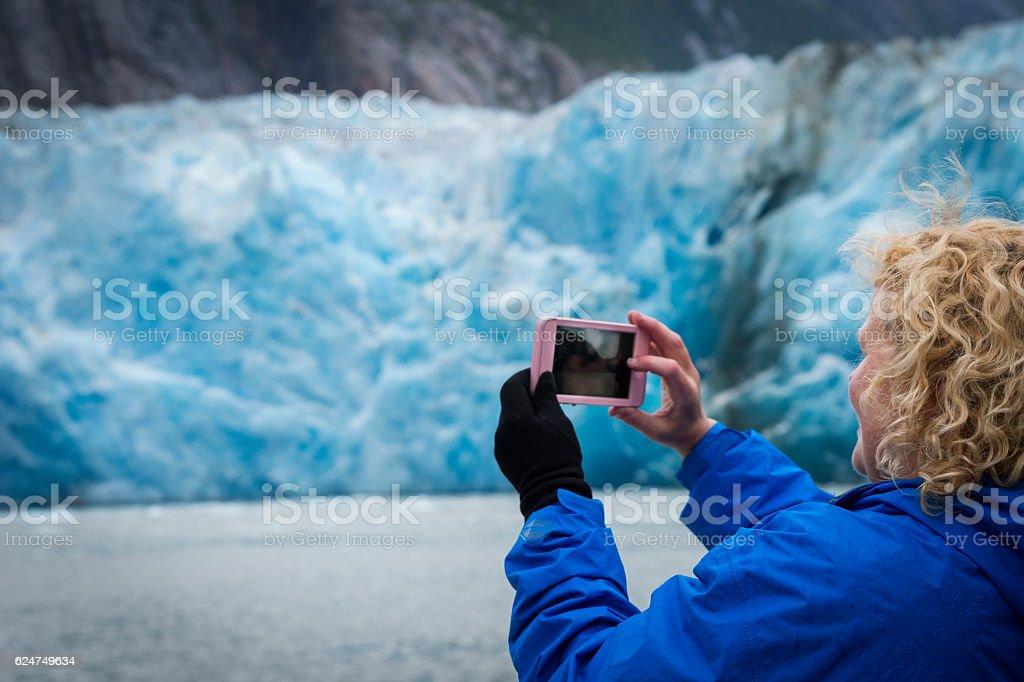 Smartphone photo of a glacier stock photo