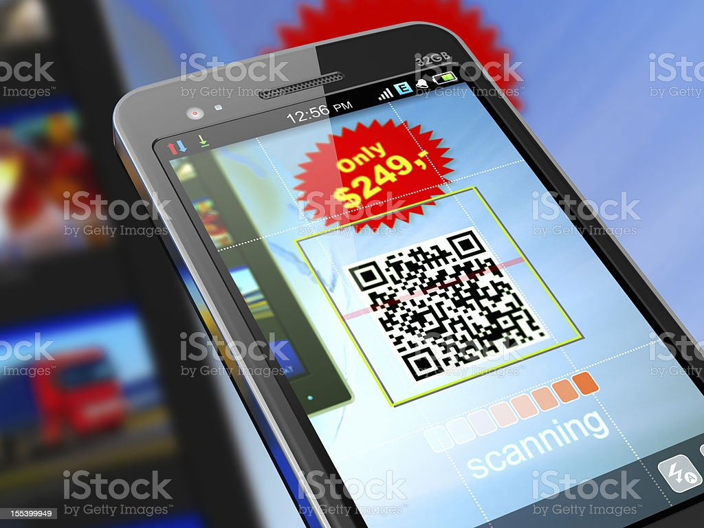 Smartphone scanning QR code for shopping stock photo