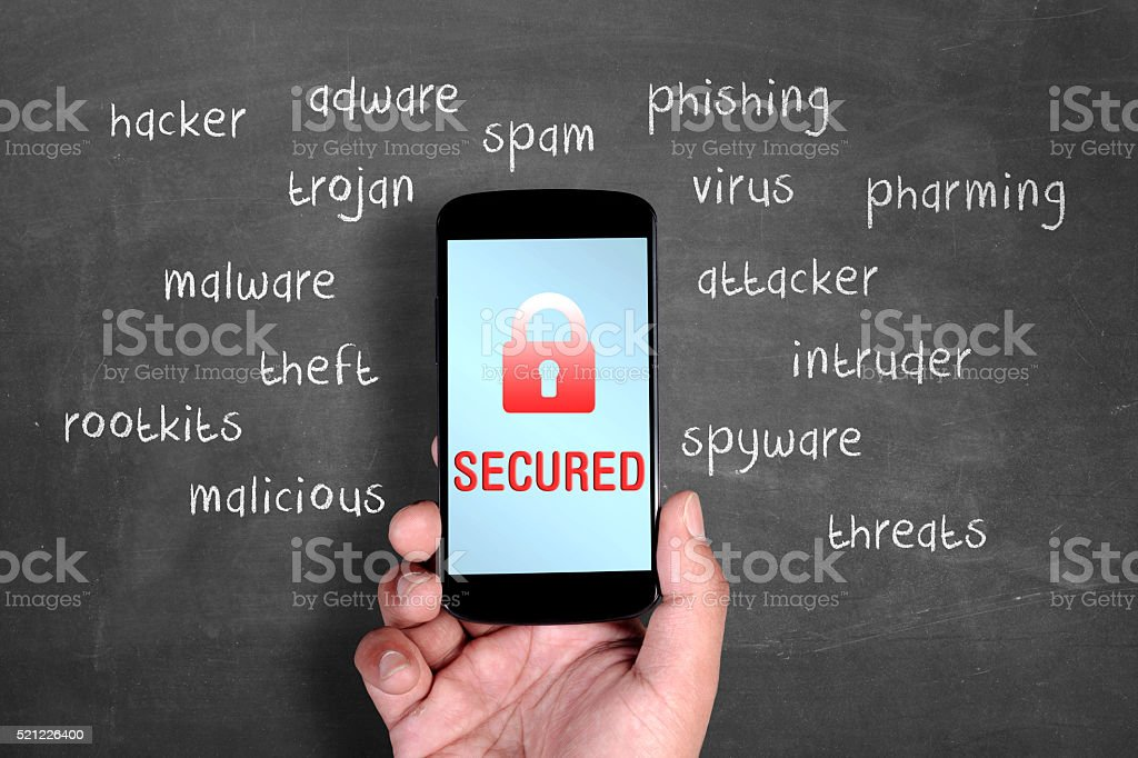 Smartphone security secured stock photo