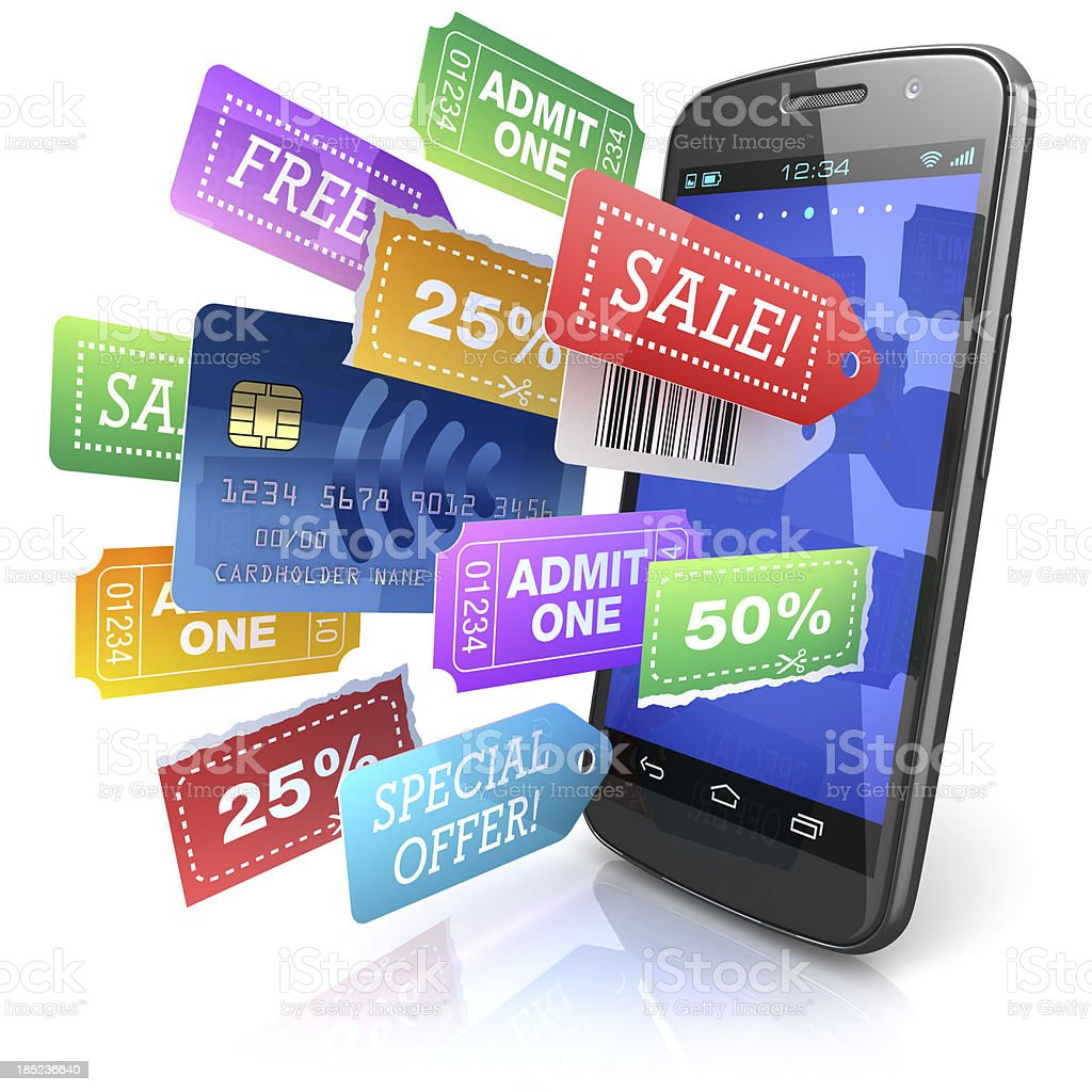 Smartphone shopping offers concept stock photo