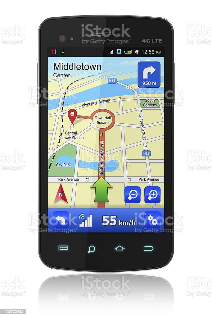A smartphone showing an active GPS navigation system royalty-free stock photo
