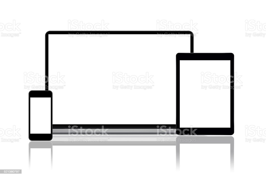 Smartphone, tablet and laptop stock photo