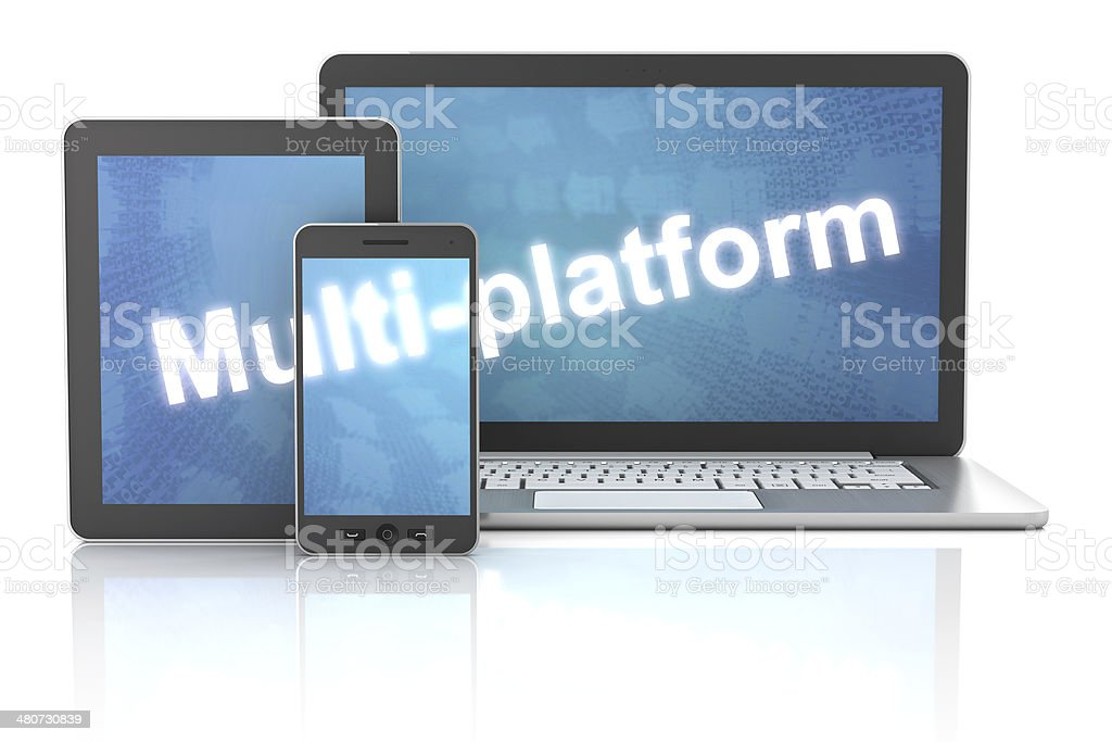 Smartphone, tablet and laptop with multi-platform word, 3d render stock photo